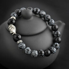 Black Natural White spot stone bead 8mm Tibet silver Buddha lucky man bracelet
