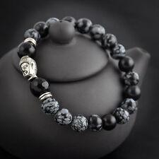 Fashion Men Black Lava Rock Silver Gold Lion Buddha Beads Charm Elastic Bracelet