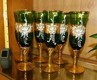 6 Champagne Flutes Vintage Czech Bohemian enamelled green glass gold gilded