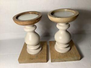 2 X Wooden Candlesticks