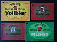 4 DDR-Bier-Etiketten - VEB Dresdner Brauereien, VEB Felsenkeller,