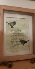 musical black birds one off art signed contemporary unframed
