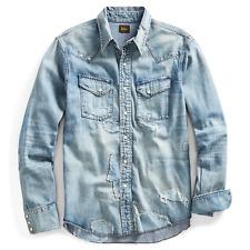 $595 RRL Ralph Lauren Japanese Repaired Patchwork Denim Western Shirt- XXL
