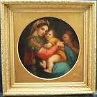 FINE 19thC MADONNA DELLA SEDIA after RAPHAEL Old Master Antique Oil Painting