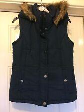 Ladies Blue Body Warmer Fur Hood Size 8 B6