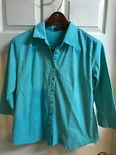 PRETTY DOUBLJU Sx 3X Crisp MINT Button Down Shirt Stretch Cotton Blouse