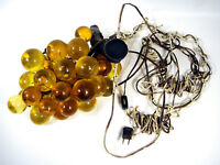 Vintage Lucite Grape Cluster Lighted Hanging Swag Lamp Fixture Amber Retro