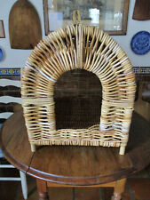 Large Vintage Wicker Dog House Dog Bed Cat House Cat Bed Indoor Pet Bed 21X22X16