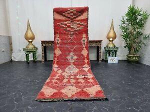"Moroccan Handmade Vintage Runner Rug 2'5""x8'2"" Berber Geometric Faded Red Rug"