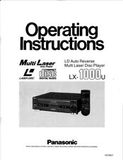 Panasonic LX-1000u Laser Disc Player Owners Instruction Manual