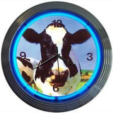 Milking Cow Real Neon clock Dairy Barn Farm Farmer wall lamp Cattle Ranch light