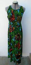 Vintage 1960s 70s LESLIE J Mod Floral Jungle Animal Print Halter Maxi Dress
