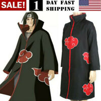 US Naruto Akatsuki Uchiha Itachi Robe Cloak Coat Anime Cosplay Costume Halloween