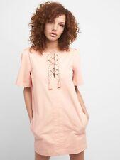 Gap Lace-Up Shift Dress, Evening Sand Sz XS (181217)
