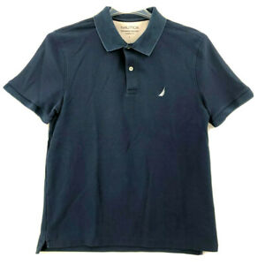 Nautica Polo Shirt Large L Mens Classic Size Short Sleeve Casual Wear Navy Blue