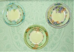"""Bavarian China Lot of 3 Berry Bowls with Matching 6"""" Plates ~ Hand Painted"""