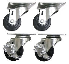 """3"""" x 1-1/4"""" Hard Rubber Wheel Caster (A2) - 4 Swivels with 2 Brake"""