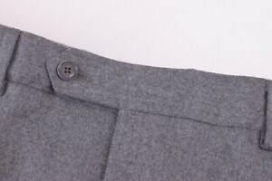 Luciano Barbera NWT Dress Pants Size 52 36 US Solid Light Gray Flannel Wool