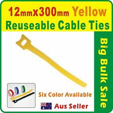 50 x Yellow Reuseable Cable Ties 12 x 300mm Magic Wrap Strap