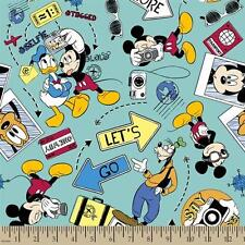Disney Mickey Say Cheese Let's Go Explore 100% cotton Fabric by the yard