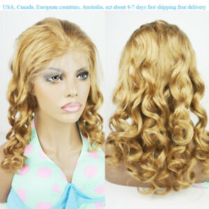 European Human Hair Lace Front Wigs Balayage Blonde Wavy pre-plucked baby hair