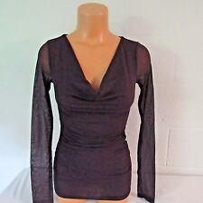 Victoria's Secret Modal Int'l Nylon Mesh Cowlneck Shirt Blouse Top Eggplant XS