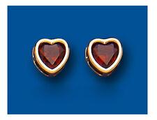 Granate Pendientes Rosca Corazones Oro Amarillo Corazón