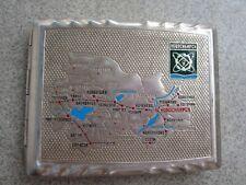 Russian Soviet metal Cigarette case Novosibirsk Science region map Новосибирск