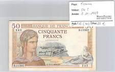 BILLET FRANCE - 50 FRANCS CERES - 9-11-1939