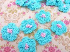 "50 Hand Crochet Turquoise Daisy 1"" Flower/trim/knitting/craft/Turquoise C6-Blue"