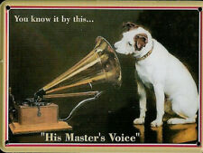 HMV Nipper metal postcard / mini sign 110mm x 80mm (hi)