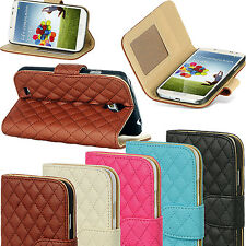 Leather Quilted Magnetic Wallet Flip Stand Case Cover For iPhone 7 6s 6 5s SE 4s