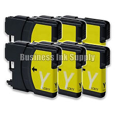 6 YELLOW New LC61 Ink Cartridge for Brother MFC-495CW MFC-J410W MFC-295CN LC61Y