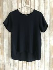J. Crew Silky Knit T Shirt Flowy Navy Blue Short Sleeve Tee Top M Medium *