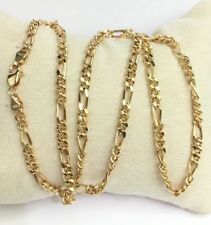 """18k Solid Yellow Gold Figaro Chain/Necklace Dimond Cut. 18"""". 8.50 Grams"""