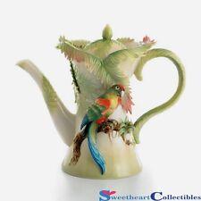 Franz Porcelain Parrot Teapot Amazon Rain Forest Retired FZ00833 NIB