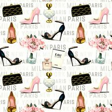 PUMPS PEONIES PERFUME  FOREVER FASHION  COTTON FABRIC MARCO FABIANO  BY THE YARD