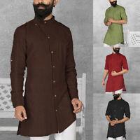 Men's Middle East Kaftan Saudi Arab Islamic Clothing Formal Robe Shirt Top Dress
