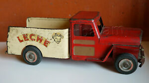 Mexican Vintage Toy Tin TRUJILLO Milk Leche Truck Van  Made in Mexico 1950s