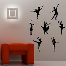 Ballet Dancers Set of seven Silhouettes wall art decal stickers