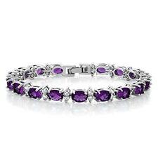 Gorgeous purple Oval and Round Sparkling Zircon Tennis Bracelet Silver Jewelry