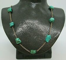 """Fine Antique 18ct Solid Gold Natural Turquoise Nugget 16"""" Link Necklace 16.8g"""