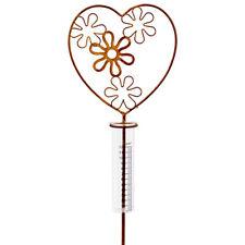 Regenmesser Metall Glas Gartenstecker Gartendeko Herz Blumen