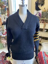 Antique French 1920's Wool University Letterman Sweater Hand Knit Black~gold