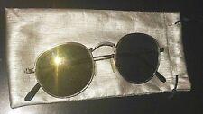 OCCHIALI DA SOLE unisex ROUND lenti a specchio dorato UNISEX con fodero lycron