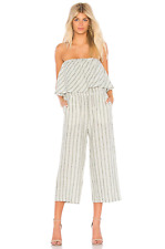 Joie Women's Brogan Strapless linen Striped Wide Leg Crop Off White Jumpsuit