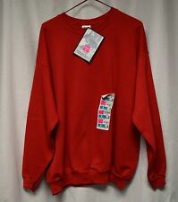 Womens Sweat Shirt Size L By Hanes NWT Red Vtg Pull Over Long Sleeve Ribbed