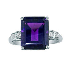 14K WHITE GOLD EMERALD CUT 4CT AMETHYST AND DIAMOND RING