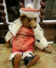 Antique Shoe Button Eyes Teddy Bear wAntique Fur Trim Santa Suit & Leather Shoes