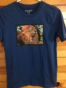 Abercrombie & Fitch Kids Lion Hologram Shirt EUC Boys Blue Top Really Soft 13/14